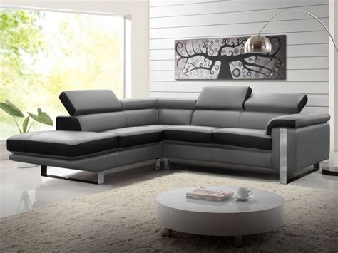 canape bicolore design canapé d 39 angle en cuir de vachette 4 coloris mystique