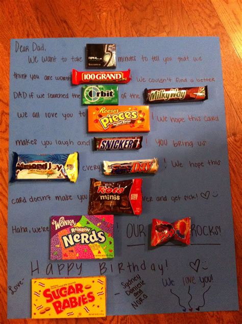 birthday card   dad   candies   words