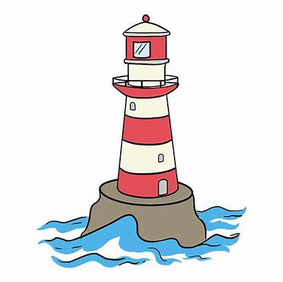 Lighthouse Draw Drawing Easy Tutorial Step Stripes
