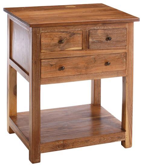 reclaimed teak  drawer side table farmhouse