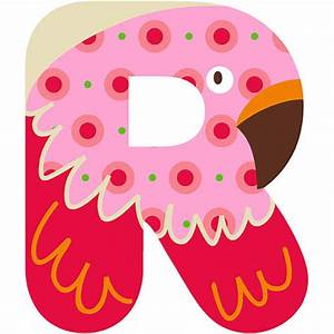 Letra R de madera para decorar Natural Alphabet R Pink