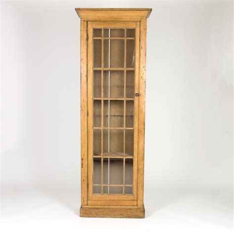 Display Cabinets Ireland - vintage narrow pine display cabinet 19th century