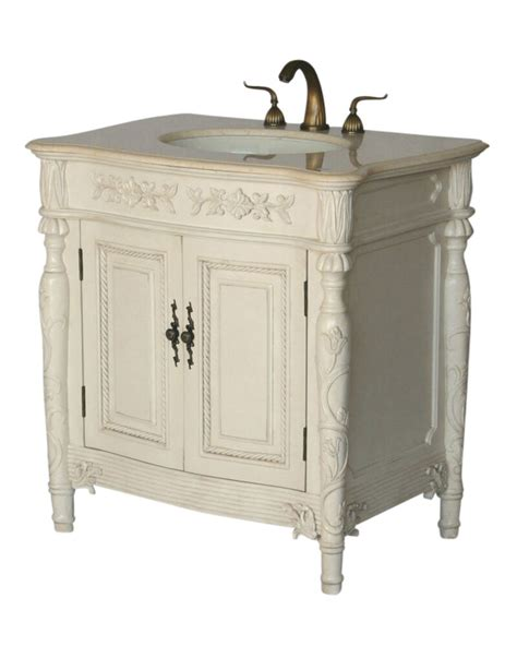 antique style single sink bathroom vanity model