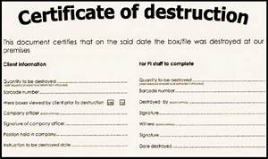 Certificate of Destruction for Doent Shredding Shred Nations