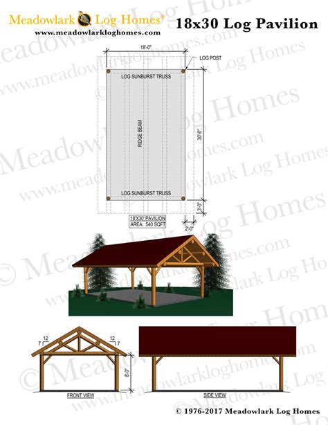 18x30 log pavilion meadowlark log homes
