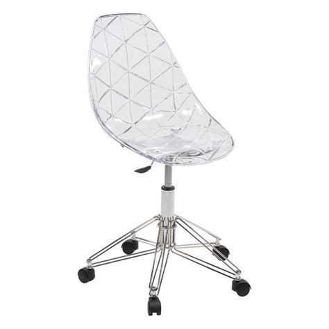 chaise de bureau transparente but chaise design sur roulettes coque transparente et métal
