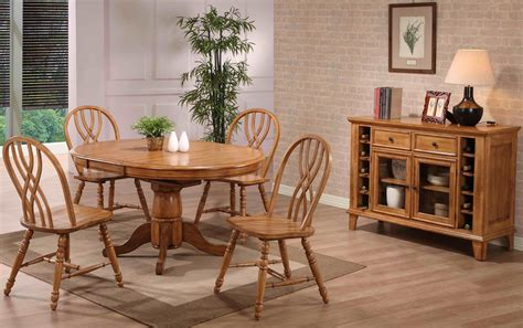 missouri rustic oak single pedestal dining room set