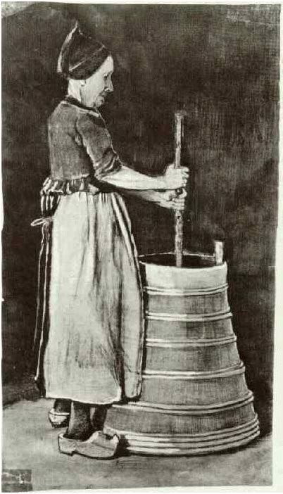 woman churning butter  vincent van gogh  watercolor