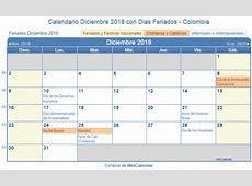 Calendario Diciembre 2018 para imprimir Colombia