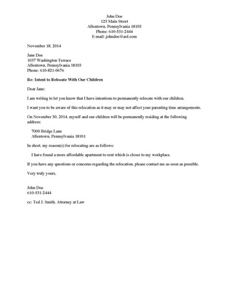 custodial parent divorce source letter to non custodial parent of intent to relocate with child ren