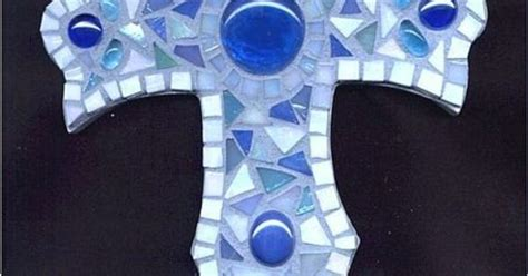 Blue Mosaic Cross By Artist Pauline Gallagher