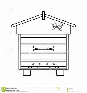 Bee Beehive Outline Stock Vector - Image: 66791534