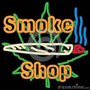 Neon MArijuana Smoke Shop With A Neon Joint Royalty Free