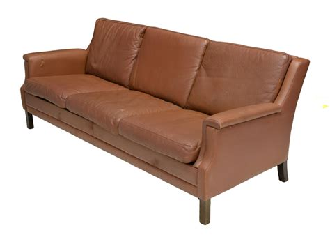 mid century modern brown leather sofa august