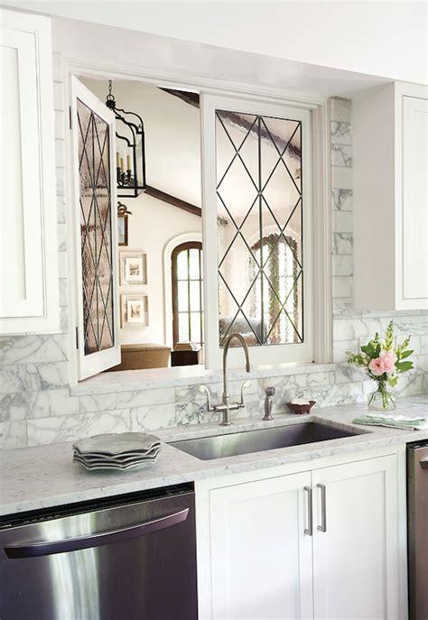 leaded glass kitchen pass  windows transitional