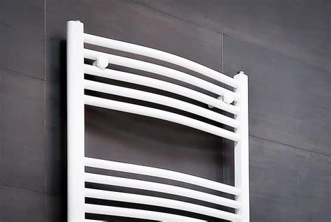 Designer White Curved Bathroom Heated Ladder Towel Rail