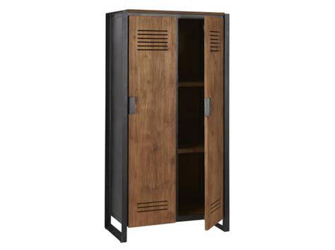 Zudem sorgt offenporiges holz in geschlossenen räumen für ein gutes raumklima: Schrank im Industriedesign, Kleiderschrank aus Metall und Holz, Breite 80 cm