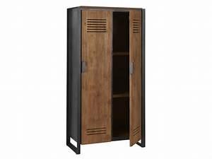 Kleiderschrank Aus Holz : schrank im industriedesign kleiderschrank aus metall und holz breite 80 cm ~ A.2002-acura-tl-radio.info Haus und Dekorationen