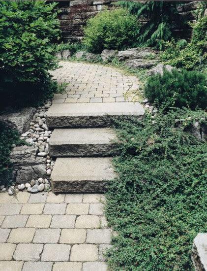 Unilock Steps - brussels block paver walkway with sienastone steps by