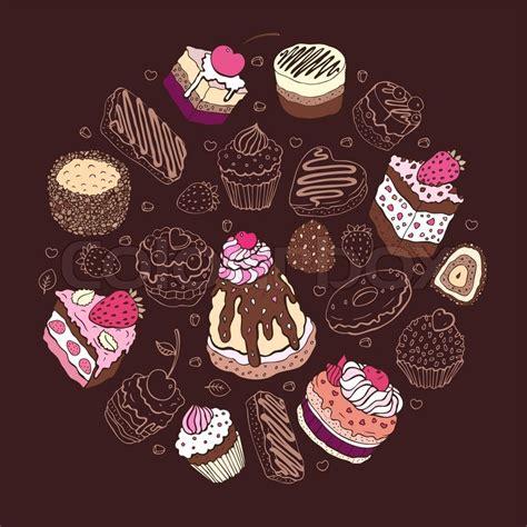 set  cute cake stock vector colourbox