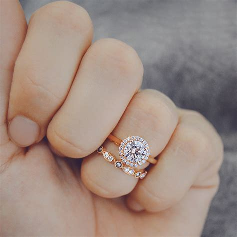 rose gold diamond engagement rings  wedding bands