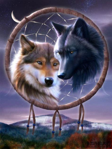 duo de loups talisman indien
