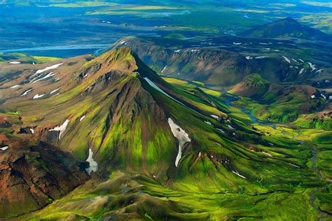 nature landscape mountain iceland snow birds eye