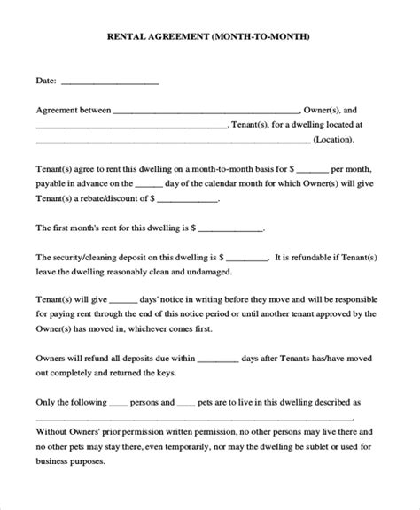 sample month  month rental agreement forms