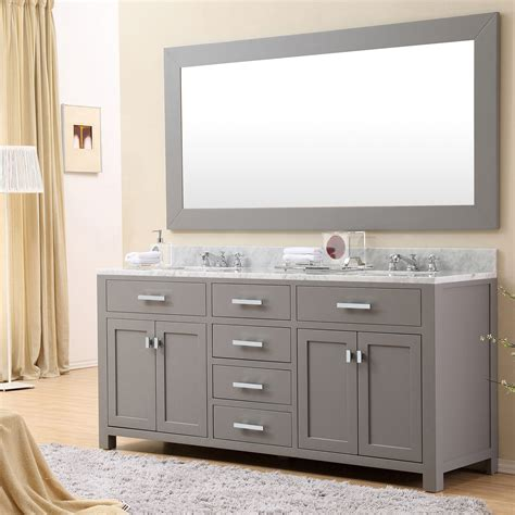 72 double sink vanity marble top daston 72 inch gray double sink bathroom vanity carrara