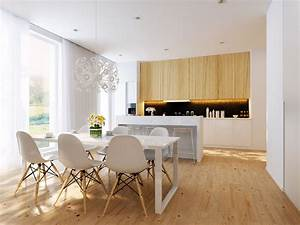 white dining area and white open kitchen interior design With interior design for open kitchen with dining