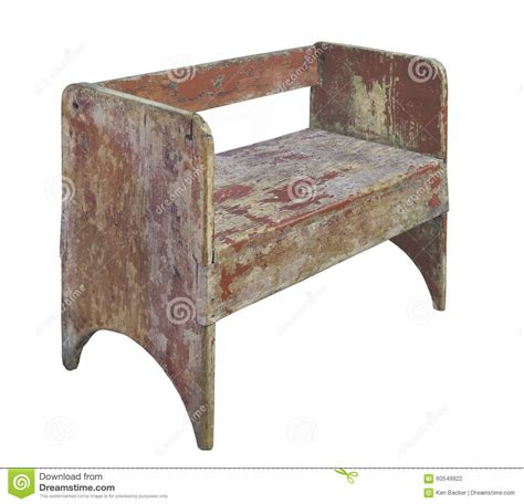 Rustic Wood Sitting Bench Isolated Stock Photo  Image Of