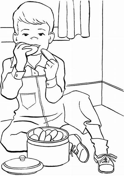 Coloring Pages Boy Cookie Eat Children Boys