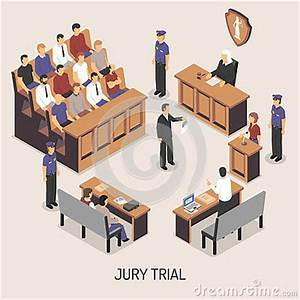 Jury Trial Isometric Composition Stock Vector - Image ...