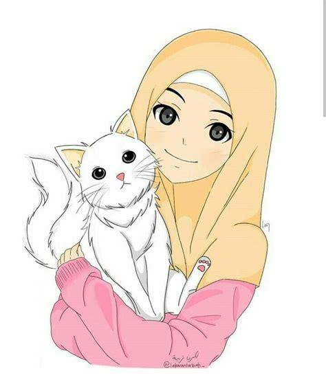 cat  anime muslim kartun seni animasi