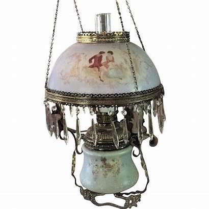 Lamp Hanging Victorian Oil Kerosene Hand Painted