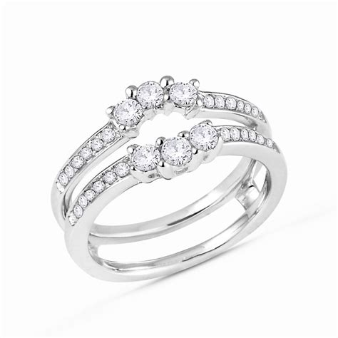 3 diamonds ring guard wrap solitaire enhancer 14k white gold 1 2ct ebay