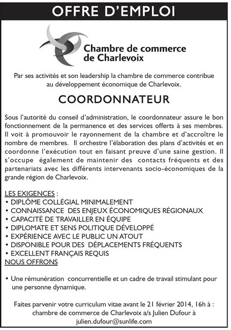 chambre d agriculture offre d emploi offre d 39 emploi chambre de commerce de charlevoix