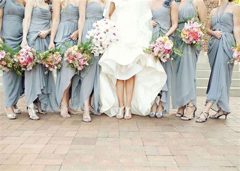 Chic, Long, Slate Grey Bridesmaids Dresses. Photo By Perez