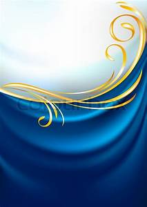 Blue fabric curtain, background Gold vignette Stock
