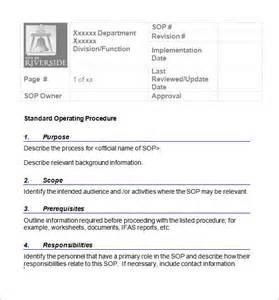 SOP Standard Operating Procedure Template Word