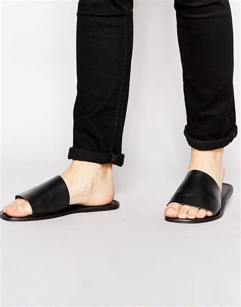 3 1 phillip lim sandals asos slide sandals in leather in black for lyst
