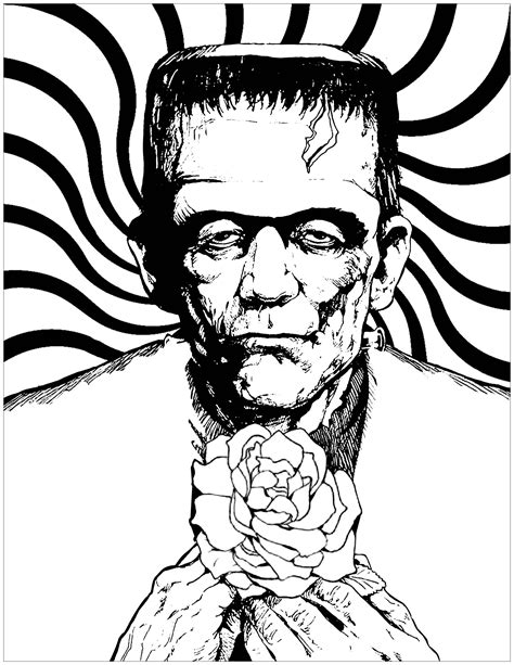 Frankenstein and rose - Halloween Adult Coloring Pages