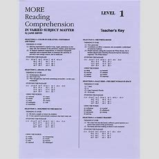 More Reading Comprehension 1  Answer Key  School Specialty Eps