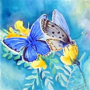 Blue Butterflies original watercolor painting 9 X 9 nature