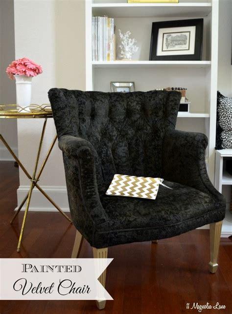 paint upholstery fabric black velvet chair  magnolia lane