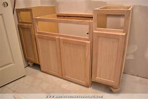 Furniture-Style Bathroom Vanity Made From Stock Cabinets