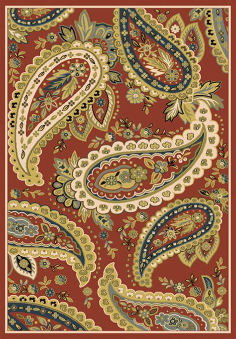 casual red paisley area rug  floral border  carpet actual      ebay