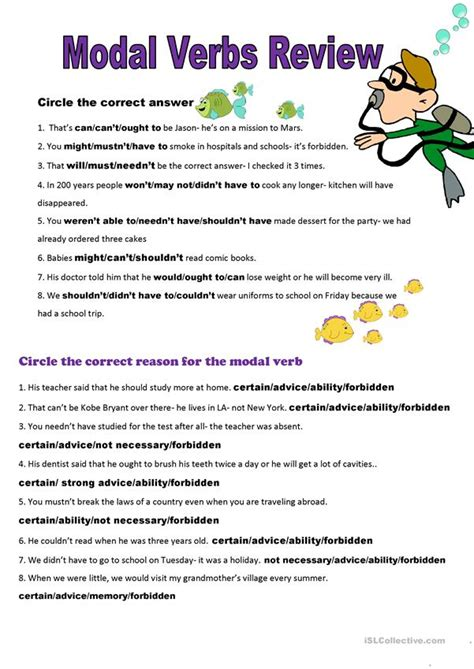 2 page all modal verbs review plus key worksheet free