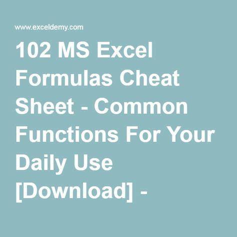 microsoft excel formulas functions cheat sheet