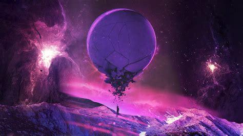 purple pink universe stars planet fantasy art space